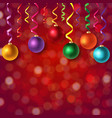 christmas postcard with bokeh and xmas balls vector image