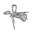 corkscrew and wine cork sketch engraving vector image