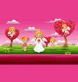 cupid family cartoons in a pink garden vector image vector image