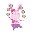 cute circus rabbit juggling balls vector image
