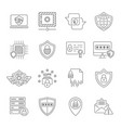 cyber protection and internet security icons set vector image