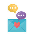 envelope mail with heart and speech bubble vector image vector image