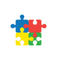 flat design style concept of four jigsaw puzzle vector image