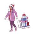 Flat woman with present gift boxes sleigh