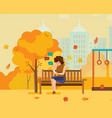 girl resting in autumn park communicates on phone vector image vector image
