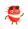 happy smiling rambutan with sunglasses colorful vector image vector image