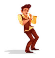 jazz man with saxophone vector image
