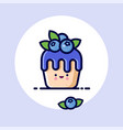 kawaii muffin blueberries syrup face vector image