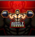 muscle man esport mascot logo design vector image