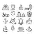 Park landscape and amusement line icons set vector image