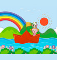rabbit fishing in paperboat in the river vector image vector image