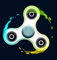 realistic white fidget spinner with colorful vector image