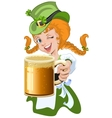 Red haired girl leprechaun holding a glass beer vector image vector image