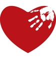 Red heart with white hand print vector image vector image