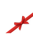 red satin ribbon with bow corner element realistic vector image vector image