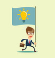 running businessmen bearing the idea vector image vector image