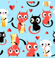 seamless bright funny pattern enamored kittens vector image vector image