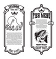 set seafood flyers with octopus and fish vector image