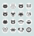 set solid animal circle icons vector image vector image