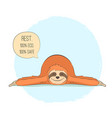 sloth in yoga pose shavasana vector image