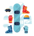 Snowboard equipment icons set in flat design style vector image vector image