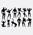 strong man sport pose silhouette vector image vector image