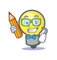 student light bulb character cartoon with pencil vector image vector image