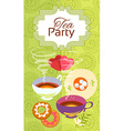 Tea party invitation card Frame over pattern vector image vector image