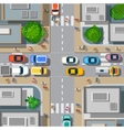 Urban crossroads with cars vector image vector image