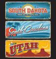 usa state south dakota carolina utah plate signs vector image vector image