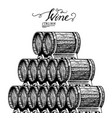 wooden oak barrels aged wine pyramidal pile of vector image