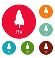 yew tree icons circle set vector image