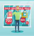 young caucasian man shopping on sale vector image vector image