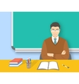 School teacher asian man at desk flat education vector image