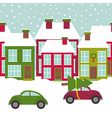 town street with houses and cars in winter time vector image