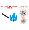 burn match icon with bonus flame collection vector image