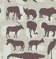 African animals seamless pattern Silhouette vector image