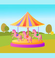 amusement park for kids adults carousel spinning vector image vector image