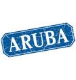 aruba blue square grunge retro style sign vector image vector image
