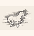 beautiful unicorn wind sketch vector image