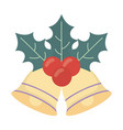 bells with holly berry celebration merry christmas vector image vector image
