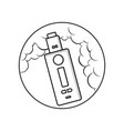 black and white cartoon electric cigarette - vector image