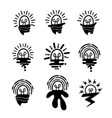 bulbs icons set funny and alien style vector image vector image