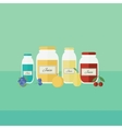 Card with jars of juice in flat style vector image vector image