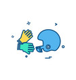 championship cricket gloves halmet icon design vector image