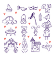 Childrens toys Set of hand drawn doodle toys vector image vector image