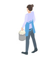 cleaning service woman icon isometric style vector image vector image