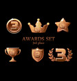 collections awards trophy bronze awards icons set vector image vector image