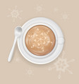 cup of cappuccino coffee with snowflake image vector image vector image