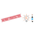 distress patent protected line seal and collage vector image vector image